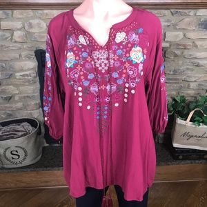 Embroidered Burgundy Top With Neck Tie: S-3XL